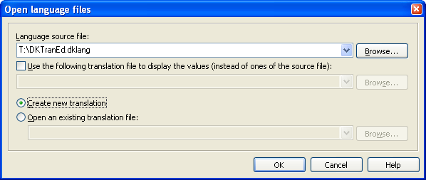 The Open language files dialog.