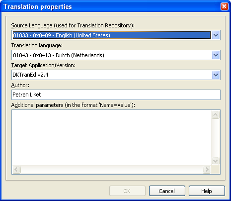 The Translation properties dialog.
