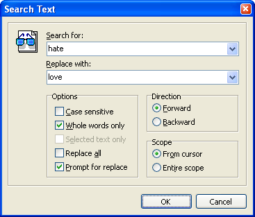 The Find & Replace dialog.